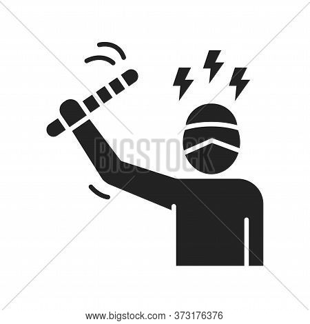 Threat To Human Life Black Glyph Icon. Harassment, And Violence. Human Rights. Sign For Web Page, Mo