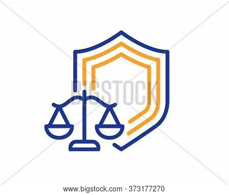 Justice Scales Line Icon. Judgement Scale Sign. Law Protection Symbol. Colorful Thin Line Outline Co