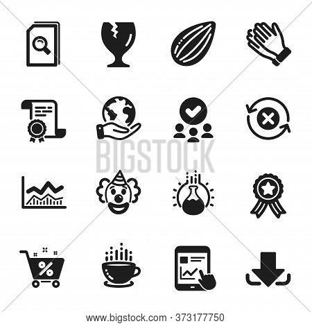 Set Of Business Icons, Such As Almond Nut, Coffee Cup. Certificate, Approved Group, Save Planet. Cla