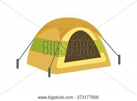 Round Yellow Tent Semi Flat Rgb Color Vector Illustration. Summer Recreation, Rest After Hiking. Cam