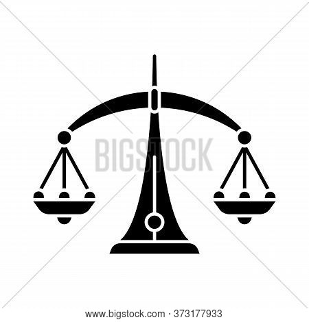 Libra Zodiac Sign Black Glyph Icon. Judicial System, Equilibrium, Horoscope Scales Silhouette Symbol