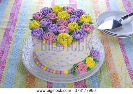 Pastel Rainbow Butter Cream Frosting Handmade Roses On A Round Cake Frosted With White Icing And Emb