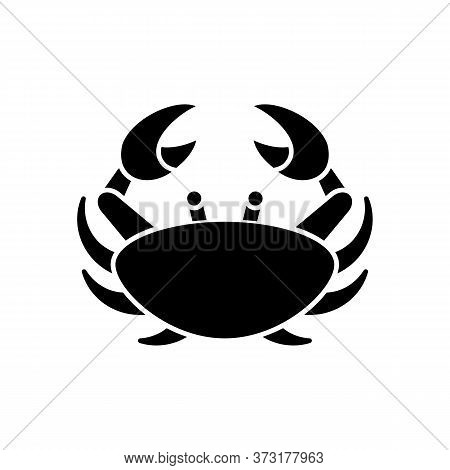 Cancer Zodiac Sign Black Glyph Icon. Astrological Crab Silhouette Symbol On White Space. Horoscope B