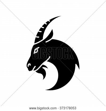 Capricorn Zodiac Sign Black Glyph Icon. Astrology, Horoscope Goat Silhouette Symbol On White Space.
