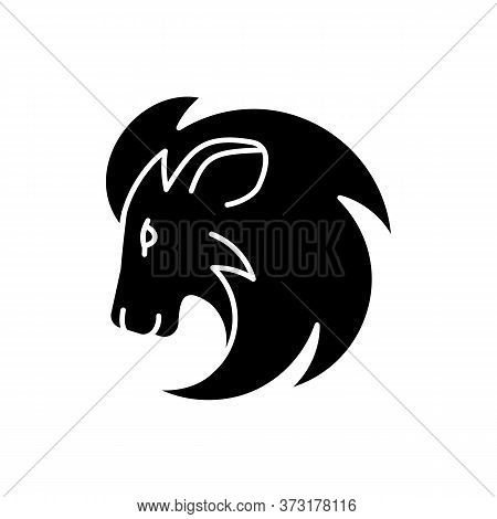 Leo Zodiac Sign Black Glyph Icon. Astrology, Horoscope Lion Silhouette Symbol On White Space. Exotic