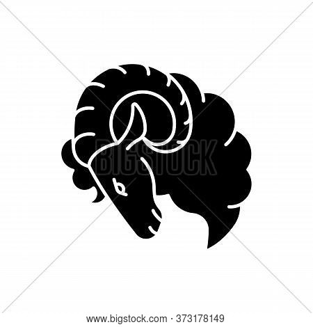 Aries Zodiac Sign Black Glyph Icon. Horoscope Ram Silhouette Symbol On White Space. Astrological Bir