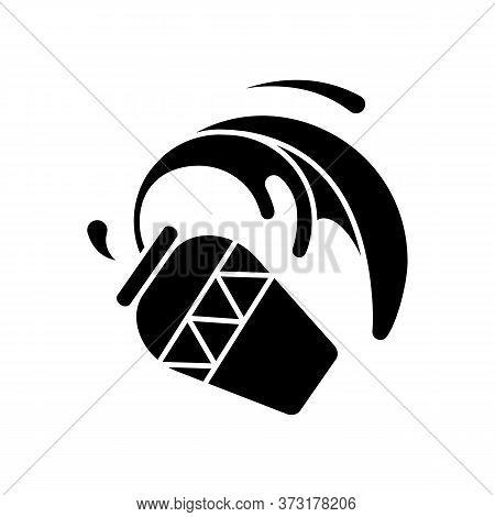 Aquarius Zodiac Sign Black Glyph Icon. Astrology, Horoscope Water Bearer Silhouette Symbol On White