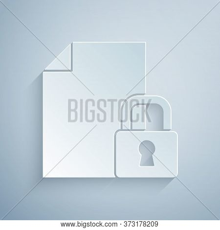 Paper Cut Document And Lock Icon Isolated On Grey Background. File Format And Padlock. Security, Saf