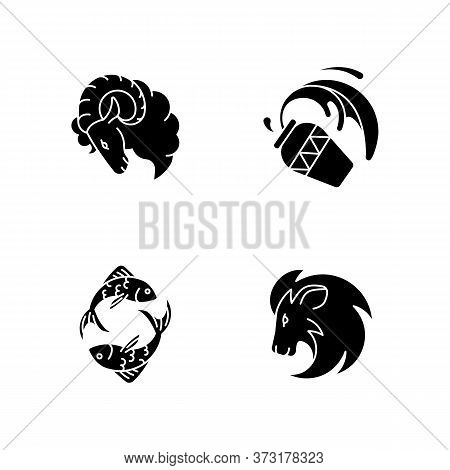 Horoscope Signs Black Glyph Icons Set On White Space. Ram, Water Bearer, Lion And Fish Zodiac Silhou
