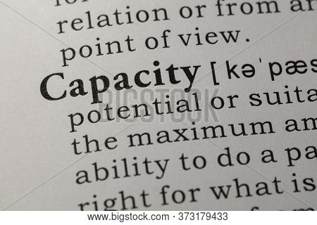 Fake Dictionary, Dictionary Definition Of Word Capacity.