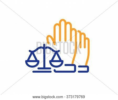 Court Jury Voting Line Icon. Justice Scales Sign. Judgement Law Symbol. Colorful Thin Line Outline C