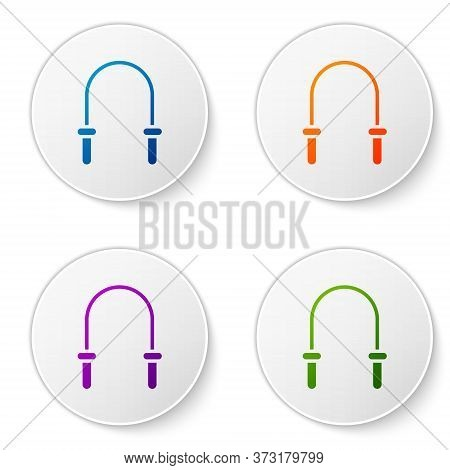 Color Jump Rope Icon Isolated On White Background. Skipping Rope. Sport Equipment. Set Icons In Circ