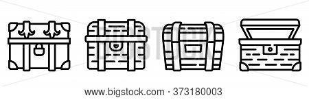 Dower Chest Icons Set. Outline Set Of Dower Chest Vector Icons For Web Design Isolated On White Back