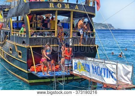 Kemer, Turkey - July 17, 2015: Touristic Sailing Boats In Kemer, Turkey On July 17, 2015