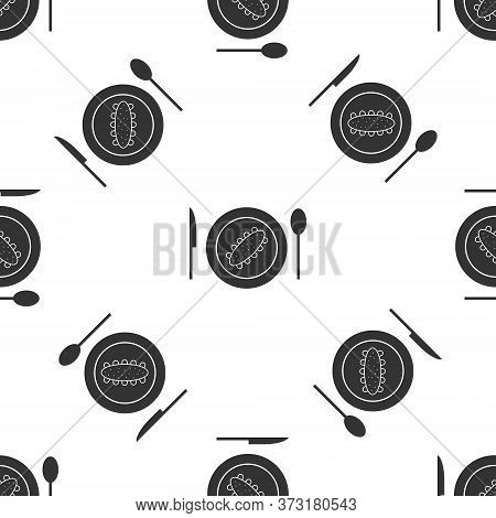 Grey Served Cucumber On A Plate Icon Isolated Seamless Pattern On White Background. Marine Food. Vec