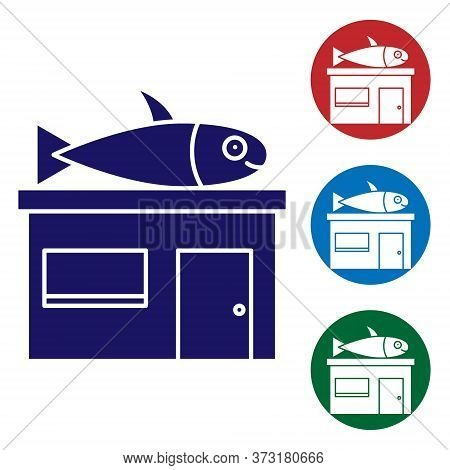 Blue Seafood Store Icon Isolated On White Background. Facade Of Seafood Market. Set Icons In Color S