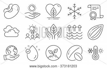 Set Of Nature Icons, Such As Fair Trade, Evaporation. Diploma, Ideas, Save Planet. Sun Protection, A