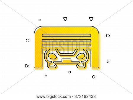Auto Park Sign. Parking Garage Icon. Car Place Symbol. Yellow Circles Pattern. Classic Parking Garag