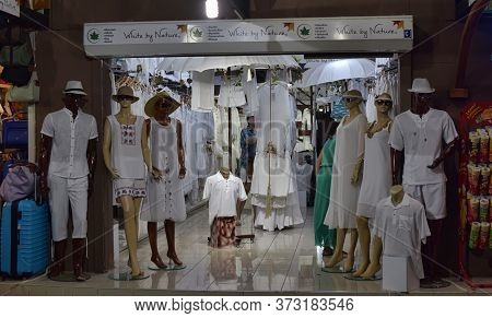 Turkey, Kemer 18,07,2015 Storefront With White Linen Clothes