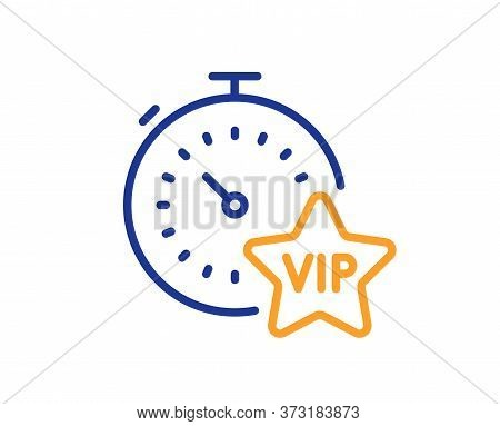 Vip Timer Line Icon. Very Important Person Sign. Member Club Privilege Symbol. Colorful Thin Line Ou