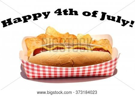 Hot Dog with mustard and potato chips. Isolated on white. 4th of July Food. Happy 4th of July!