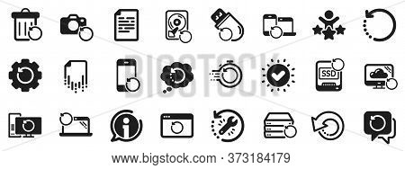 Backup, Restore Data And Recover Document. Recovery Icons. Laptop Renew, Repair And Phone Recovery I