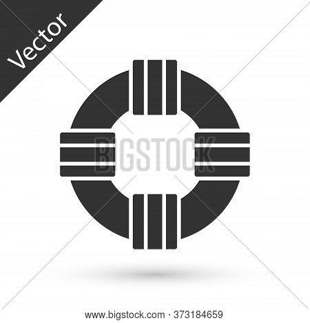 Grey Lifebuoy Icon Isolated On White Background. Lifebelt Symbol. Vector.