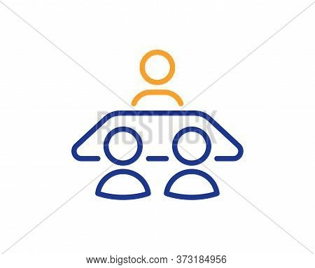 Interview Job Line Icon. Business Management Sign. Human Resources Symbol. Colorful Thin Line Outlin
