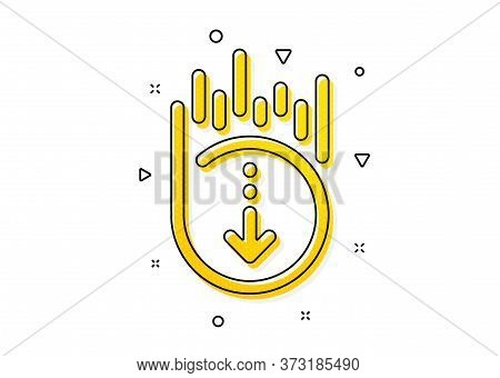 Scrolling Screen Sign. Scroll Down Icon. Swipe Page. Yellow Circles Pattern. Classic Scroll Down Ico