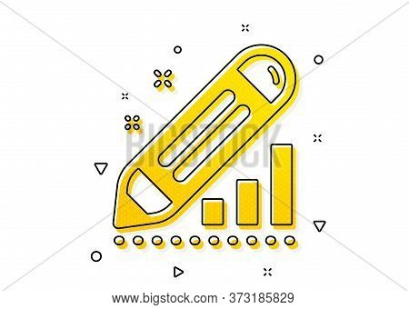 Pencil Chart Sign. Edit Statistics Icon. Seo Management Symbol. Yellow Circles Pattern. Classic Edit