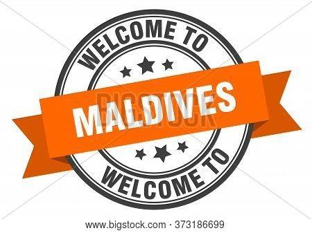 Maldives Stamp. Welcome To Maldives Orange Sign