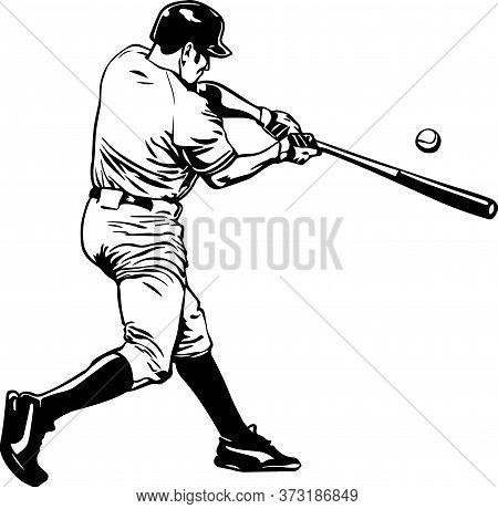 Image Of Baseball Simple Line Art Vector
