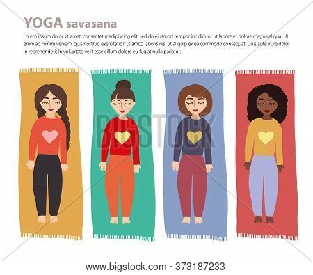 Set With Beautiful Woman European And African-american Doing Corpse Savasana Yoga Pose. Girls In Med
