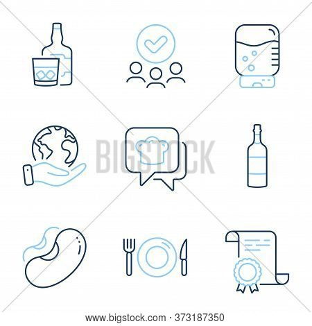 Whiskey Glass, Cooking Hat And Food Line Icons Set. Diploma Certificate, Save Planet, Group Of Peopl