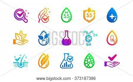 Dermatologically Tested, Paraben Chemical Formula Icons. No Artificial Colors, Organic Leaf Icons. H