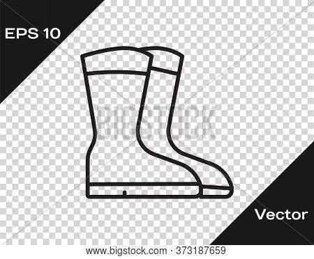 Black Line Fishing Boots Icon Isolated On Transparent Background. Waterproof Rubber Boot. Gumboots F