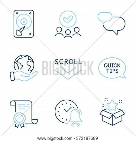 Scroll Down, Quickstart Guide And Hdd Line Icons Set. Diploma Certificate, Save Planet, Group Of Peo