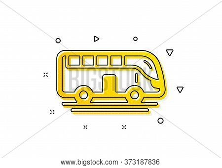 Transportation Sign. Bus Tour Transport Icon. Tourism Or Public Vehicle Symbol. Yellow Circles Patte