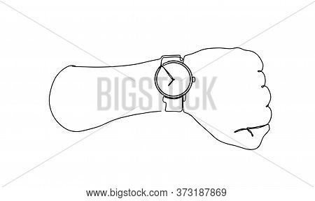 The Continuous Line Of A Persons Hand Indicates A Wrist Watch. Hand With Handwatch On Wrist With Iso