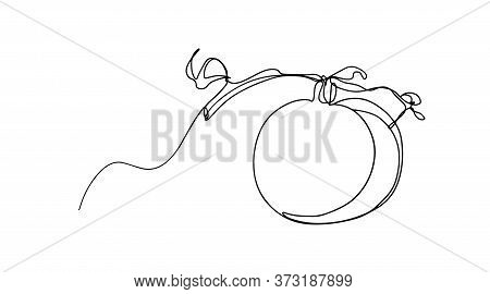 One Continuous Single Drawn Line Art Doodle Whole Tomato . Isolated Image Hand Drawn. Single One Lin