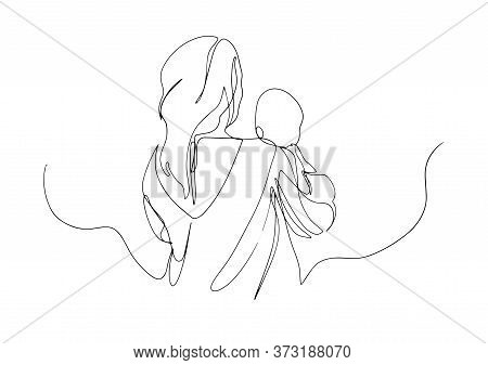Continuous Single Drawn One Line Woman In Hospital With Newborn Child. Hand-drawn Silhouette Image.