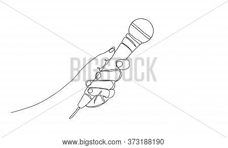 Continuous Line Drawing Vector Hand Holding Wired Microphone One Line Vector Drawing. Someone Holdin