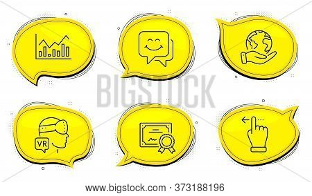 Infochart Sign. Diploma Certificate, Save Planet Chat Bubbles. Smile Face, Augmented Reality And Tou