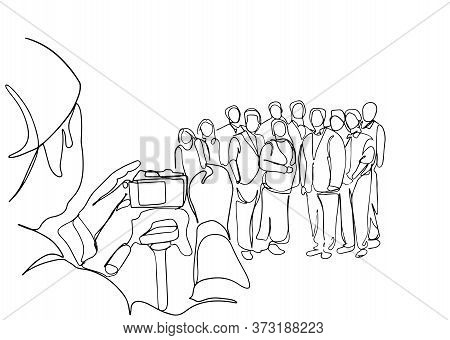 Man Is Taking Photo Of A Group Of People Tohether One Line Vector Illustration. A Photographer With