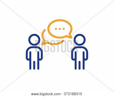 Consulting Business Line Icon. Discussion Or Consultation Sign. People Communication Management Symb