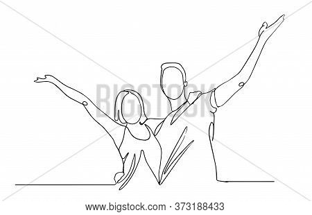 Happy Man And Woman Having Fun Line Drawing. Happy Couple Expressing Joy. The Concept Of Feelings An