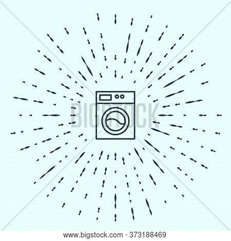 Black Line Washer Icon Isolated On Grey Background. Washing Machine Icon. Clothes Washer - Laundry M
