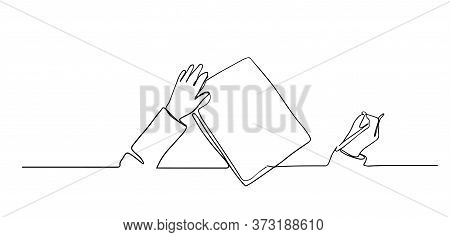 One Continuous Line Drawing Of Hand Writing Gesture On A Piece Of Paper Write Concept Single Line Dr