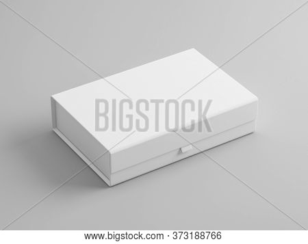 Blank white box packaging mockup isolated on grey background, Template for your design. 3d rendering.