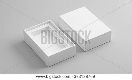 Blank open box packaging mockup isolated on grey background, Template for your design. 3d rendering.